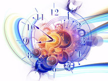 Temporal dynamic. Gears, clock elements, dials and dynamic swirly lines arrangement suitable as a backdrop in projects on scheduling, temporal and time related Stock Image