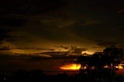 Temporale di notte sopra l'orizzonte Fotografia Stock