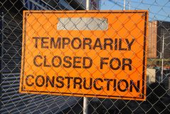 Temporarily Closed For Construction Sign  Stock Photos