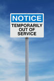 Temporarily Out of Service. A notice sign indicating Temporarily Out of Service Stock Photography