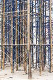 Temporary bracing scaffolding. Close up on bamboo scaffolding steel, which is currently serving temporary bracing in construction Stock Photo