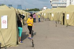 Temporary camp for displaced persons Stock Photography