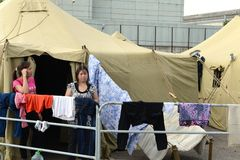 Temporary camp for displaced persons Royalty Free Stock Photography