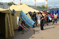 Temporary camp for displaced persons Royalty Free Stock Images