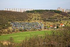 Temporary car parking. On the field Royalty Free Stock Photos
