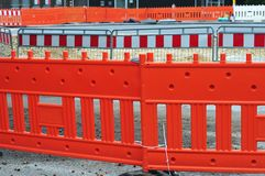 Temporary fencing at construction site royalty free stock photography