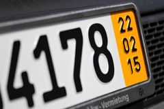 Temporary German plate Royalty Free Stock Photo