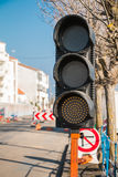 Temporary  green traffic light roadworks Royalty Free Stock Image