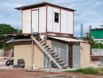 Temporary houses for worker near construction place Royalty Free Stock Photo