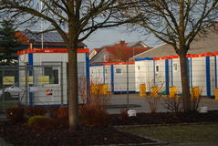 Temporary housing containers for migrants. Housing containers in a temporary migrants processing faciliy in Neuötting, Germany Royalty Free Stock Image