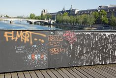 Temporary installation of street art on the Pont des Arts (Paris France). Royalty Free Stock Image