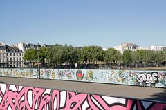 Temporary installation of street art on the Pont des Arts (Paris France). Royalty Free Stock Images