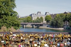 Temporary installation of street art on the Pont des Arts (Paris France). Stock Photo