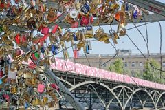 Temporary installation of street art on the Pont des Arts (Paris France). Stock Images
