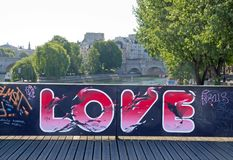 Temporary installation of street art on the Pont des Arts (Paris France). Royalty Free Stock Photography