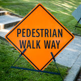 Temporary Orange and Black Sign PEDESTRIAN WALK WAY Stock Photography