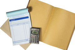 Temporary receipts and old calculator. Concept of financial smal Royalty Free Stock Photo