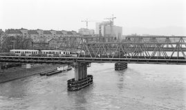 Temporary  replacement bridges across the river danube Stock Photos