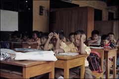 Temporary School Situation in Evacuation Barracks After Eruption of Merapi Mountain royalty free stock photo