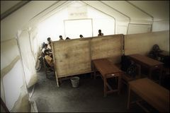 Temporary School Situation in Evacuation Barracks After Eruption of Merapi Mountain royalty free stock image