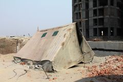 A temporary shelter/tent  under construction site Stock Image