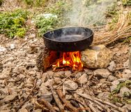 Temporary indian stove. stock photography