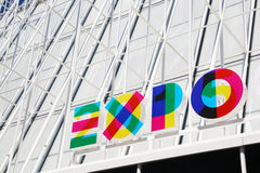 Temporary structure to provide information on EXPO, Milan Royalty Free Stock Image