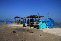 Temporary tea shops by the seaside in Dhanushkodi, Tamil Nadu, India. Stock Images