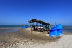 Temporary tea shops by the seaside in Dhanushkodi, Tamil Nadu, India. Royalty Free Stock Image