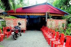 Temporary Tent with Colourful Patterned Entrance Stock Photos