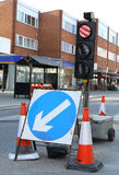 Temporary Traffic Lights. A set of temporary traffic lights in a road Royalty Free Stock Photo