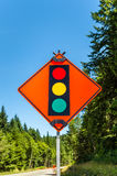 Temporary traffic lights ahead Stock Photos