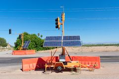 Temporary traffic lights powered by solar energy stock photography