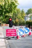 Temporary traffic signals stock photo