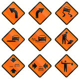 Temporary Warning Road Signs In Indonesia Stock Image