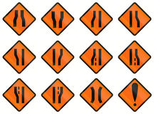 Temporary Warning Road Signs In Indonesia Royalty Free Stock Images