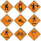 Temporary Warning Road Signs In Ireland Stock Photos