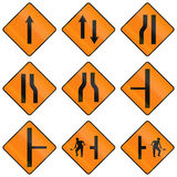 Temporary Warning Road Signs In Ireland Royalty Free Stock Photography