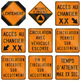 Temporary Warning Signs in Quebec - Canada Stock Photography