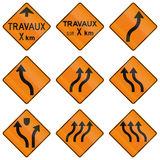 Temporary Warning Signs in Quebec - Canada Royalty Free Stock Photo