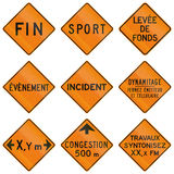 Temporary Warning Signs in Quebec - Canada Stock Photos