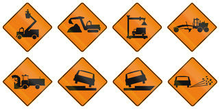 Temporary Warning Signs in Quebec - Canada Royalty Free Stock Photos
