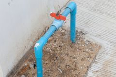Temporary water pipe meter. Close up of temporary water pipe meter Stock Photography