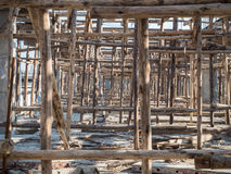 Temporary wood bracing and shoring support beams. On site construction site showing Temporary wood bracing and shoring support beams Royalty Free Stock Image