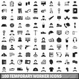 100 temporary worker icons set, simple style Royalty Free Stock Photos