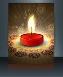 Temporeros hermosos del folleto de la tarjeta de felicitación del diwali