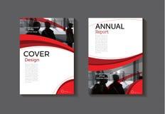 Temporeros modernos de la cubierta del folleto del extracto de la cubierta de libro del diseño rojo de la cubierta Fotografía de archivo