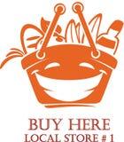 Temporeros sonrientes del diseño del logotipo del carro de la compra de la historieta de la comida fresca Imagen de archivo libre de regalías