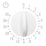 Temporizador minuto do forno micro-ondas do analógico 35, números cinzentos isolados e ícone do close up macro branco análogo da  Fotografia de Stock