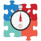 Temporizzatore del cronometro della soluzione di puzzle Fotografia Stock Libera da Diritti